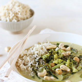 Thai Green Curry with Broccoli and Asparagus.