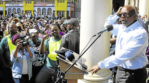 Mobilising: A large crowd listens to SaveSA leader Sipho Pityana outside Port Elizabeth's city hall earlier this year. SaveSA will co-host the Conference for the Future of SA to create a front against state capture. Picture: BRIAN WITBOOI/THE HERALD