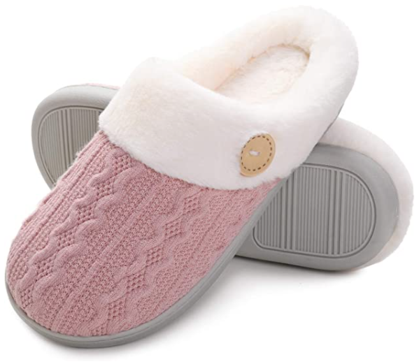 pink cozy slippers