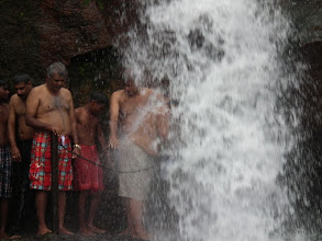 Photo: Thamil, Shekhar and Doc getting soaked at Shenbbhagadevi falls