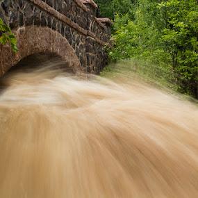 Nature by D L - Landscapes Waterscapes ( mn, canon, orange, green, 60d, stone, duluth, 28-105mm f/3.5-4.5, minnesota, flood, creek, long exposure, bridge )