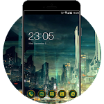 Tech Neon Cool City: Dark Green Fantasy Icon