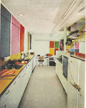 Photo: The look is an ultramodern design which was before its time, but the designer was hampered by 1955 technology. Notice the refrigerator on the immediate right. Or is that 2 refrigerators butted together?