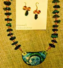 Photo: Copper enamel pendant, bloodstone, copper  SOLD/ПРОДАНИЙ
