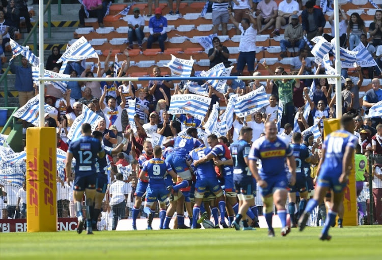 Stormers celebrate after scoring a try during the Super Rugby match between DHL Stormers and Blues at DHL Newlands on March 17, 2018 in Cape Town.