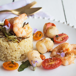 Quinoa with Scallops and Prawns.