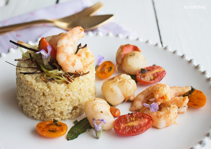 Quinoa with Scallops and Prawns