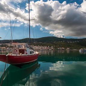 Sail boat by Grigoris Koulouriotis - Transportation Boats ( clouds, sky, greece, reflections, sea, sailboat,  )