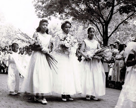 Photo: 1955 May Procession_Delores Edelin_May Queen_St Cyprian Parish