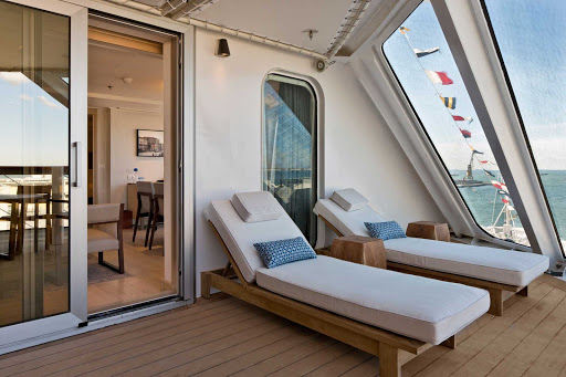 Viking-Star-Explorer-Suite-veranda - The Explorer Suite veranda offers personal lounges and space to relax during your Viking Star cruise.