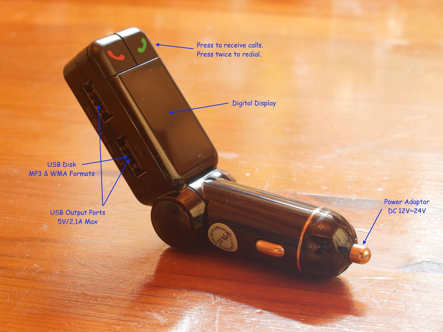 BESTEK Bluetooth Wireless In-Car FM Transmitter