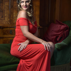 Lady In Red by Marco Bertamé - People Portraits of Women ( red, woman, lady, portrait, sitting )