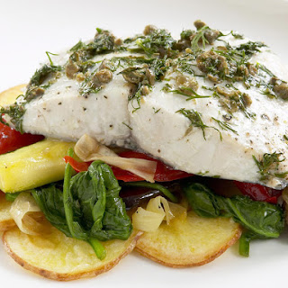 Herbed Fish with Aioli and Vegetables.