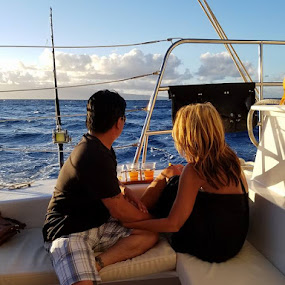 Maui Sunset Cruise by Christopher Estrada - Landscapes Waterscapes (  )