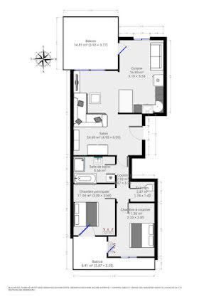 Vente appartement 3 pièces 74,08 m2