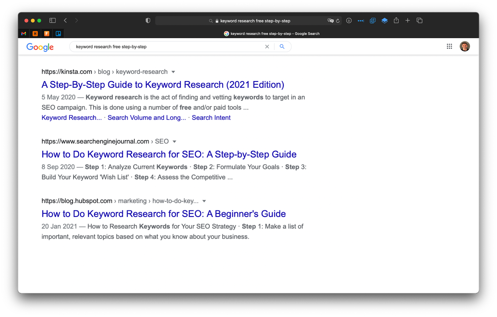 """A screenshot of the top three Google search results for """"keyword research free step-by-step."""""""