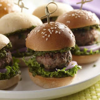 Chicken Meatball Sliders with Pesto Spread.
