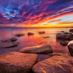 Sunrise at the Rocks by Jamie Link - Landscapes Waterscapes ( link, framed, jamie, landscape, drama, sun, photography, pics, sky, dramatic, photographer, fine, rocks, clouds, water, jamie link photography, grass, camera, art, beautiful, lake, photo, print, photos, red, blue, sunset, scenery, sunrise, river )