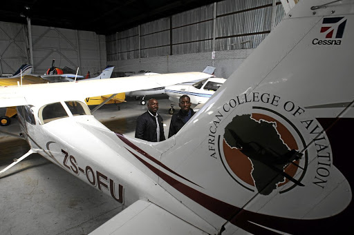 Humphreys Shumba and Mpho Tlhako's dreams of flying failed to take off when their aviation school shut down while owing them money they paid for flying and tuition./ SANDILE NDLOVU