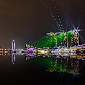 Laser show reflections by Senthil Damodaran - City,  Street & Park  Street Scenes ( park, street scene city, laser show, reflections, night, lights )