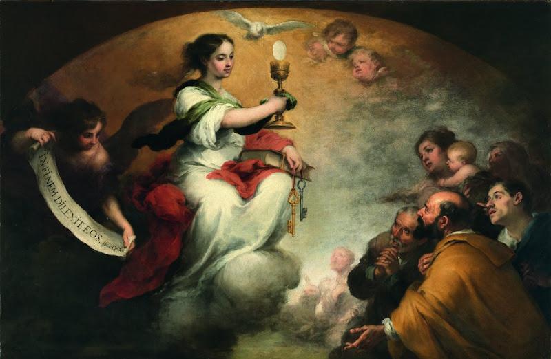 """Photo: """"El triunfo de la Eucaristía"""" (""""Faith or The Church Triumphant"""") Bartolomé Esteban Murillo Óleo sobre tela, 165 x 251 cm Oxfordshire, Faringdon Collection, Buscot Park"""