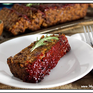 MUSHROOM- WALNUT MEATLESS LOAF WITH KETCHUP GLAZE