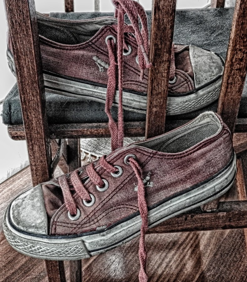 Shoes in a chair by Ana Paula Filipe - Artistic Objects Clothing & Accessories ( shoes, chair, old, red, green )