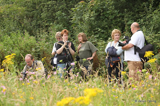 Photo: Photographer Linda Howard (centre in green t-shirt) provides advice and guidance during a photography afternoon.