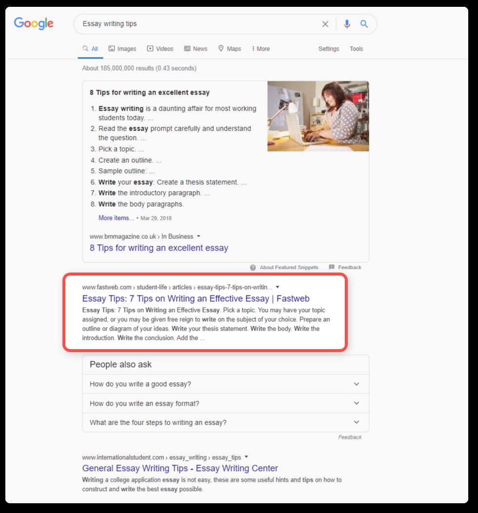 search result in google - skyscraper technique