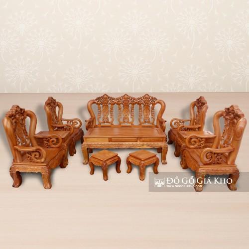 Bộ bàn ghế salon gỗ Gõ cao cấp
