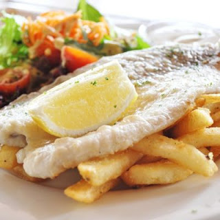 Pan-Grilled Cod with Fries.