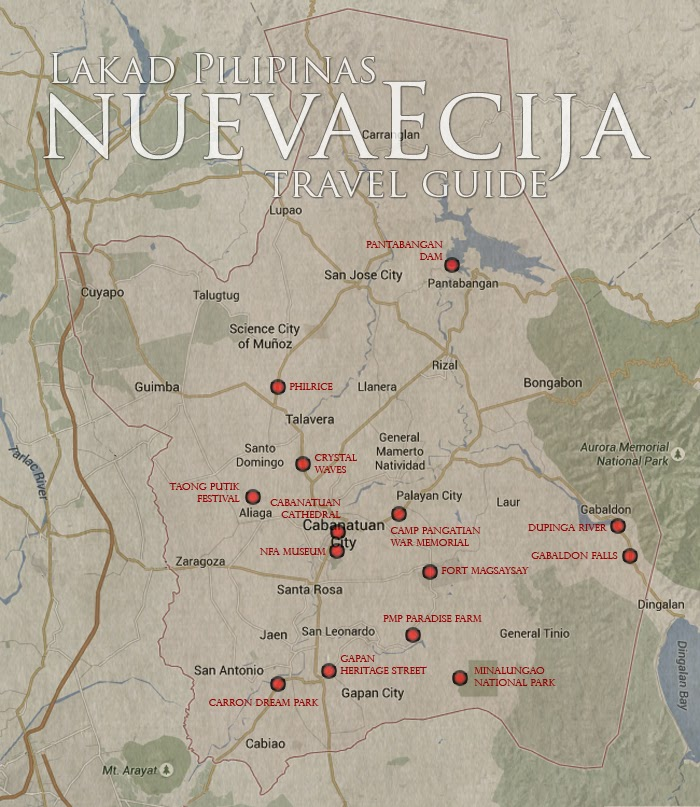 Nueva Ecija Tourist Spots Map