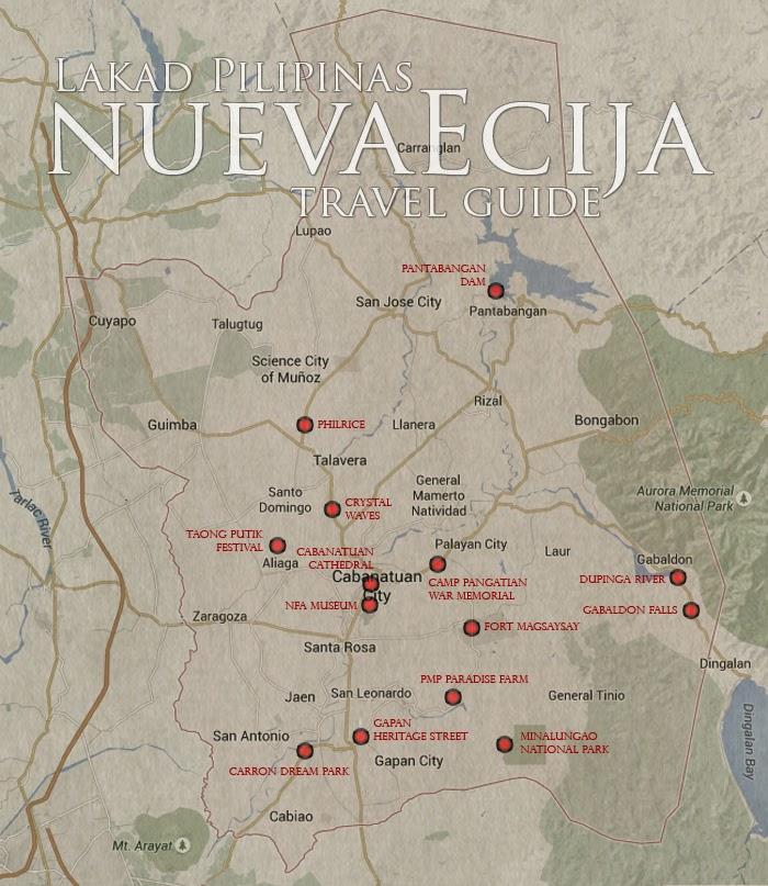 Nueva Ecija Tourist Spots Map