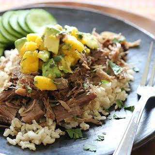 Slow Cooked Jerk Pork with Caribbean Salsa.