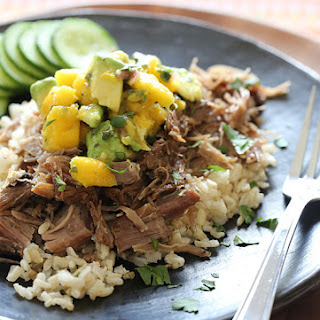 Slow Cooked Jerk Pork with Caribbean Salsa.