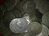 เหรียญ 1 บาท ตราแผ่นดิน 500 เหรียญ + เหรียญครุต 500 เหรียญ+เหรียญ 25 สต ปี 2500  จำนวน 200
