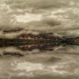 Cloud Reflection by Gordon Westran - Abstract Water Drops & Splashes ( water, clouds, sky, loch, rain, relection,  )
