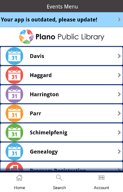 Plano Public Library- screenshot