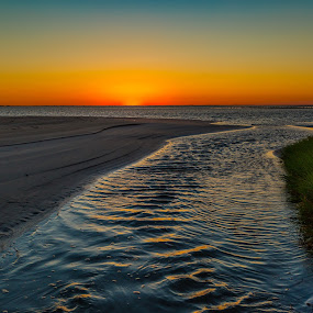 Sunset San Luis by John Chitty - Landscapes Sunsets & Sunrises ( san luis pass, sunset, texas, seascape, beach, galveston )