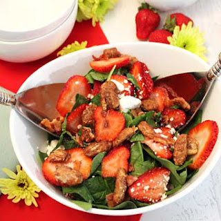 Spinach Strawberry Salad with Goat Cheese & Candied Pecans.
