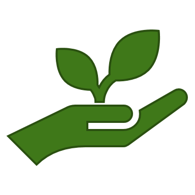 Open hand with plant
