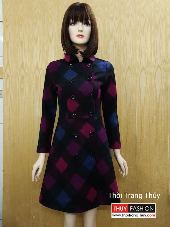 Váy xòe thu đông vải dạ hai hàng cúc V504 Thời Trang Thủy