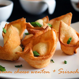 Cream Cheese wontons + Sriracha Cream Cheese Aioli