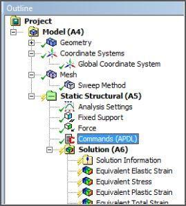 ANSYS Блок команд APDL, вставленный на этапе расчёта Static Structural