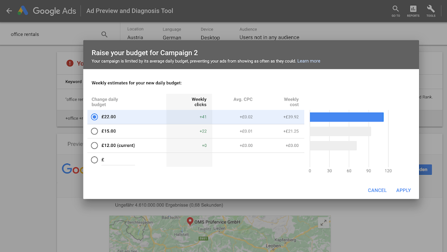 Ad Preview and Diagnosis tool budget adjustments