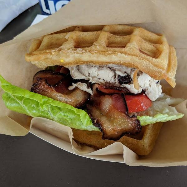 Chicken salad BLT waffle sandwich