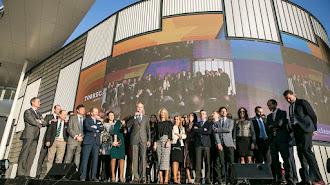 Directivos y trabajadores de Bogaris durante la inauguración del centro comercial.