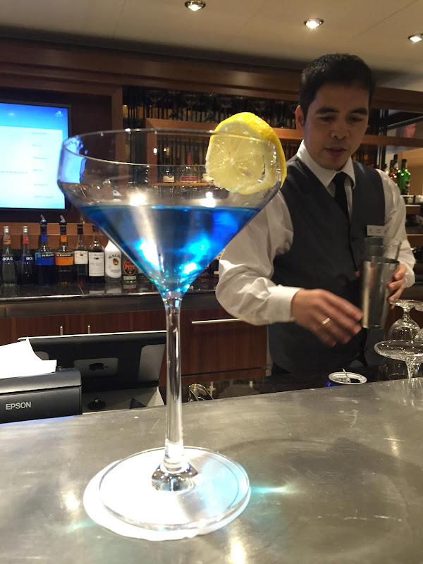 A cool blue drink served in the Explorer's Lounge on Viking Star.