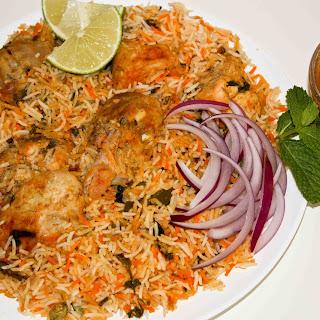 Hyderabadi Dum Chicken Biryani.