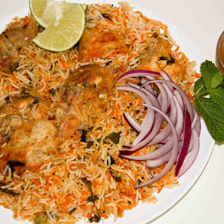 Hyderabadi Dum Chicken Biryani.
